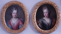 Pair of 17th century portraits of Ladies of the French Court