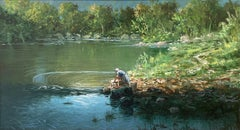 Large French Signed Oil, Lady Washing Clothes on banks of River Seine landscape