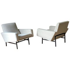 Pierre Guariche and Andre Motte Pair Upholstered Club Chairs, France, 1950s