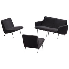 Pierre Guariche Black Four-Seat Sofa Model G10