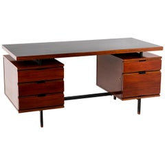 Pierre Guariche, Desk in Mahogany and Lacquered Metal, 1960's