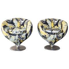 """Pierre Guariche """"Luna"""" Lounge Chairs in Marbalia Fabric"""