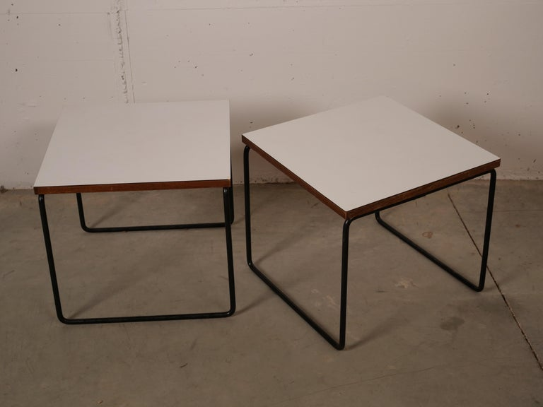 Pierre Guariche Pair Of White Flying Table For Steiner France 1955 For Sale At 1stdibs