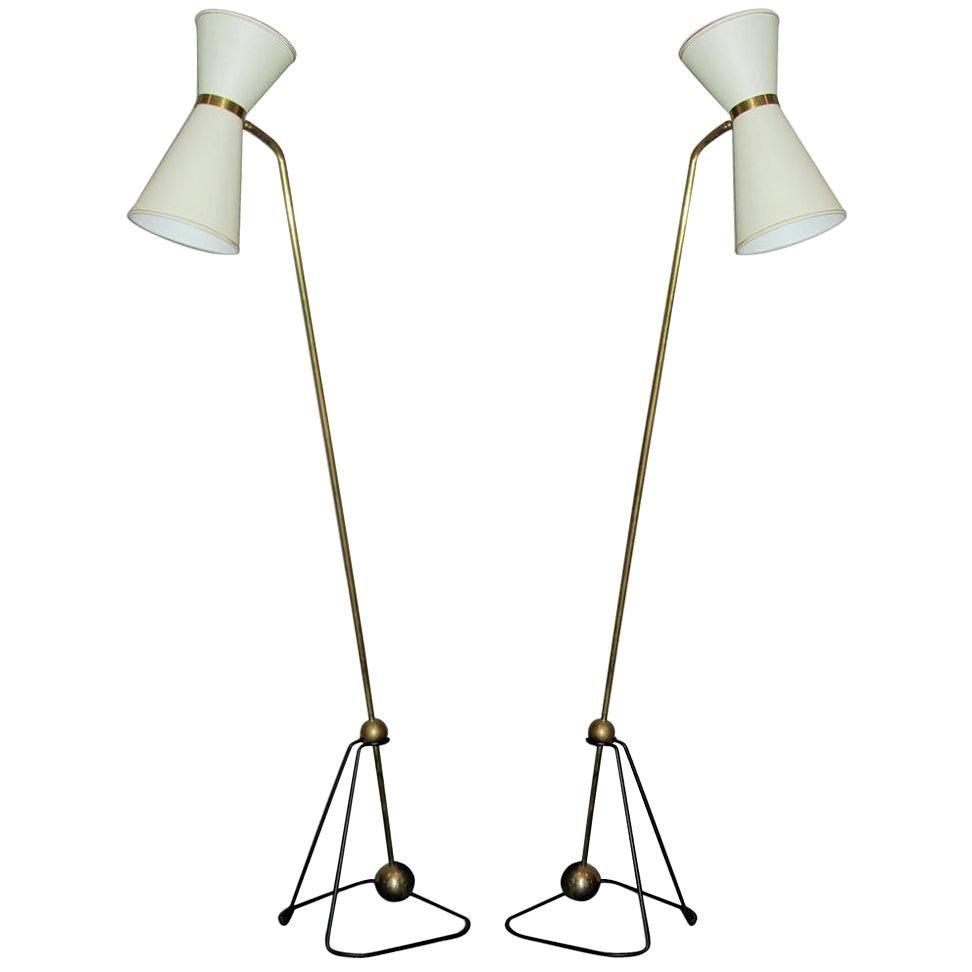 Pierre Guariche Rare Pair of Floor Lamps 1970 (Model of)