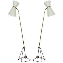 Pierre Guariche Rare Pair of Floor Lamps 1970 (Model of)