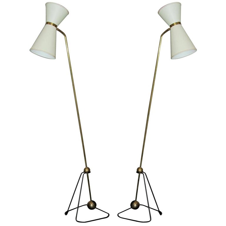 Pierre Guariche Rare Pair of Floor Lamps 1970 (Model of) For Sale
