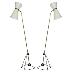 Pierre Guariche Rare Pair of Floor Lamps 1970 'Model of'