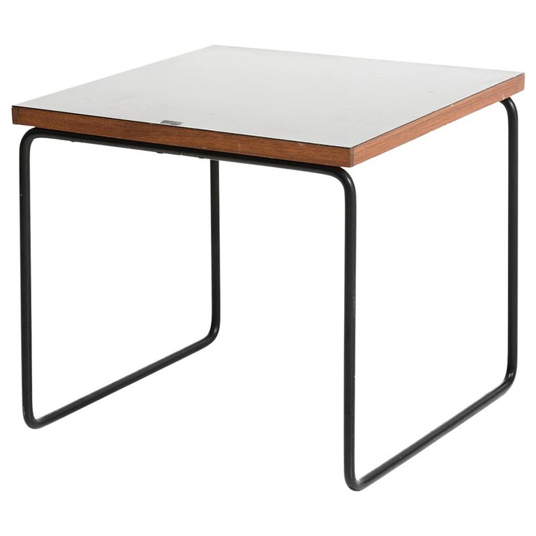 Pierre Guariche Metal and wood Square French Mid-Century Side Table For Sale