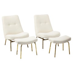 Pierre Guariche SK660 Pair of Lounge Slipper Chairs Ottomans, France 1960's