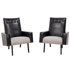 Mid Century Black Leather Pierre Guariche Style Armchairs, Set of 2