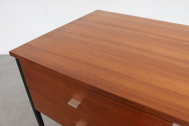Metal Pierre Guariche Teak Writing Desk for Meurop For Sale