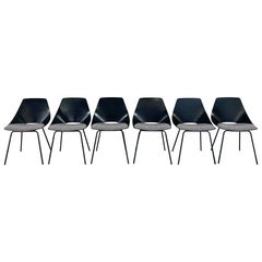 """Pierre Guariche Tonneau Dining Chairs in Stevie Howell """"Reach"""" Fabric, Set of 6"""