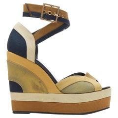 PIERRE HARDY beige tan blue canvas colorblocked open toe ankle wrap wedge EU36