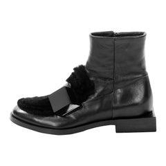 Pierre Hardy Black Leather Booties Faux Fur & Unique Square Heel 37