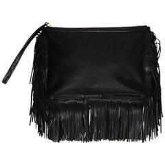 Pierre Hardy Black Leather Fringe Wristlet Clutch Bag