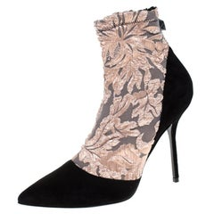 Pierre Hardy Black Suede Leather And Pink Floral Pointed Toe Ankle Boot Size38.5