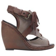 PIERRE HARDY brown canvas cross strap buckled open toe curved wooden wedge EU36