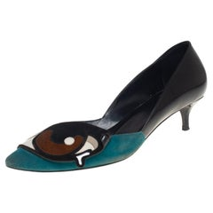 Pierre Hardy Multicolor Leather and Suede Oh Roy Eye Kitten Heel Pumps Size 38