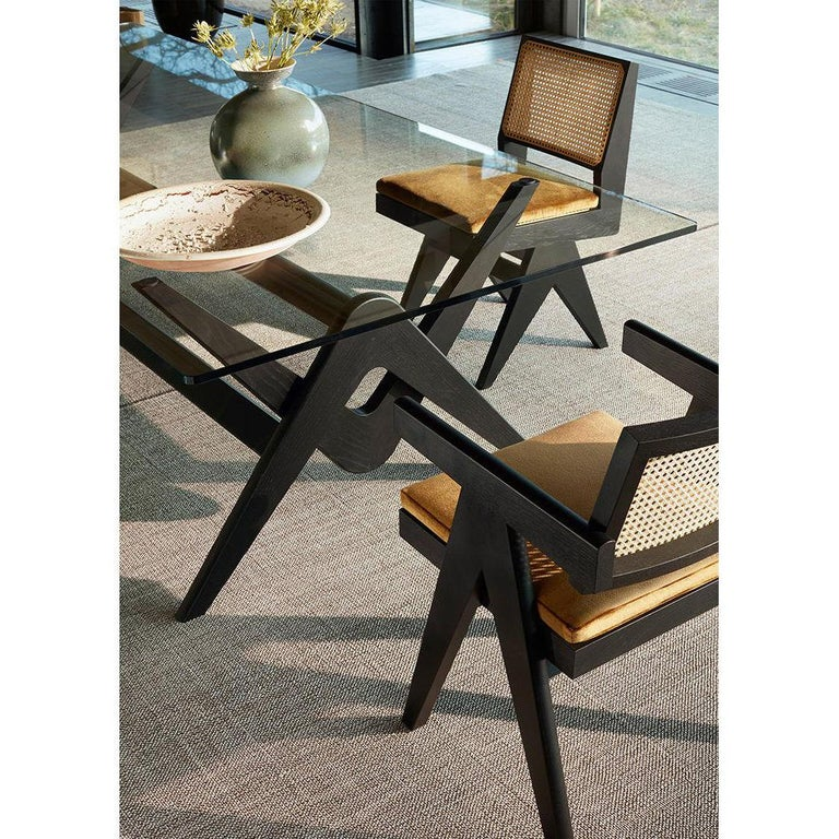 Italian Pierre Jeanneret 056 Capitol Complex Table Black Stained Wood and Glass For Sale
