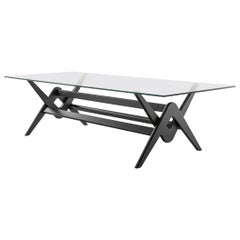 Pierre Jeanneret 056 Capitol Complex Table Black Stained Wood and Glass