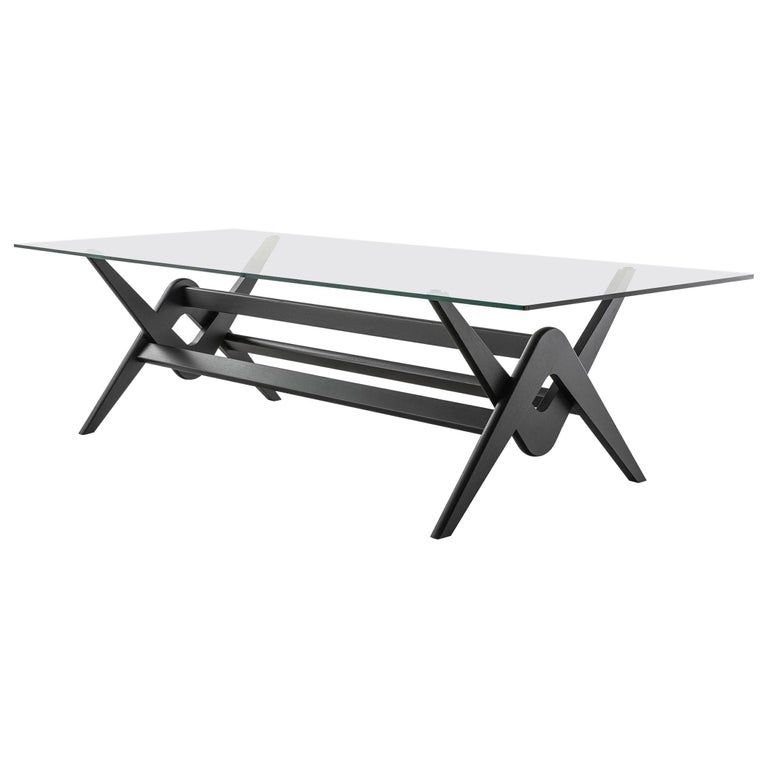 Pierre Jeanneret 056 Capitol Complex Table Black Stained Wood and Glass For Sale
