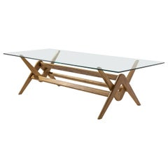 Pierre Jeanneret 056 Capitol Complex Table Natural Oak and Glass by Cassina