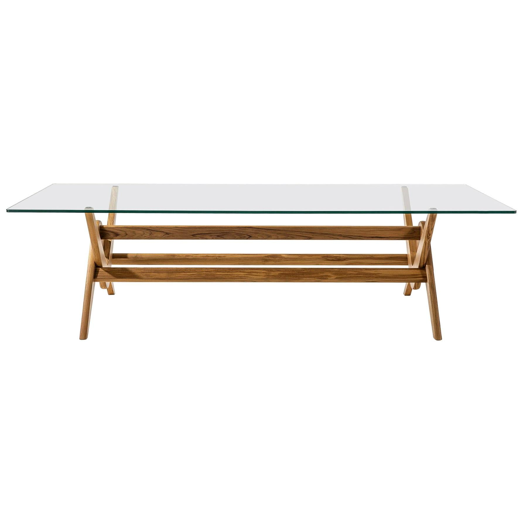 Pierre Jeanneret 056 Capitol Complex Table Wood and Glass by Cassina