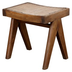 Pierre Jeanneret A-Legs Cane Stool Authentic Mid-Century Modern PJ-SI-34-A