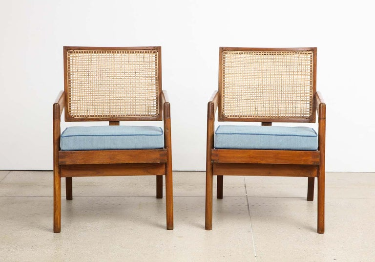 Fabric Pierre Jeanneret Armchairs For Sale