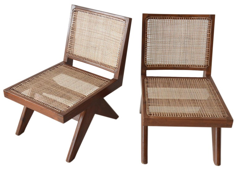 Pierre Jeanneret Armless Easychairs In Good Condition For Sale In Brooklyn/Toronto, Ontario