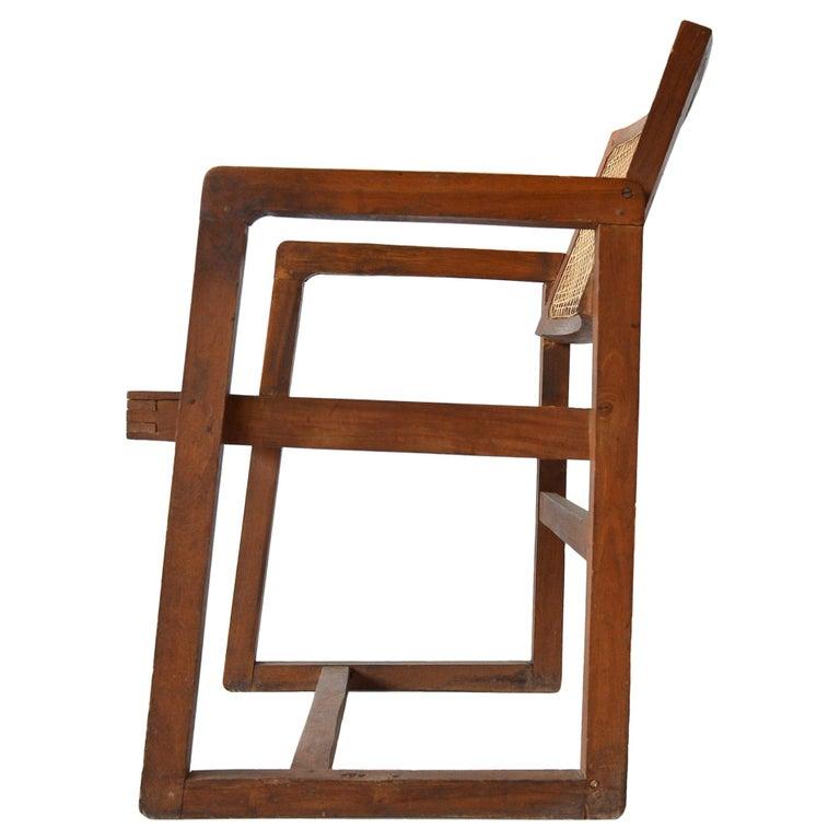 """Pierre Jeanneret """"Box"""" Desk Chair in Teak For Sale"""