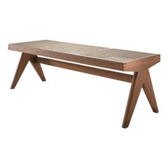 Pierre Jeanneret Civil Bench, Wood and Woven Viennese Cane