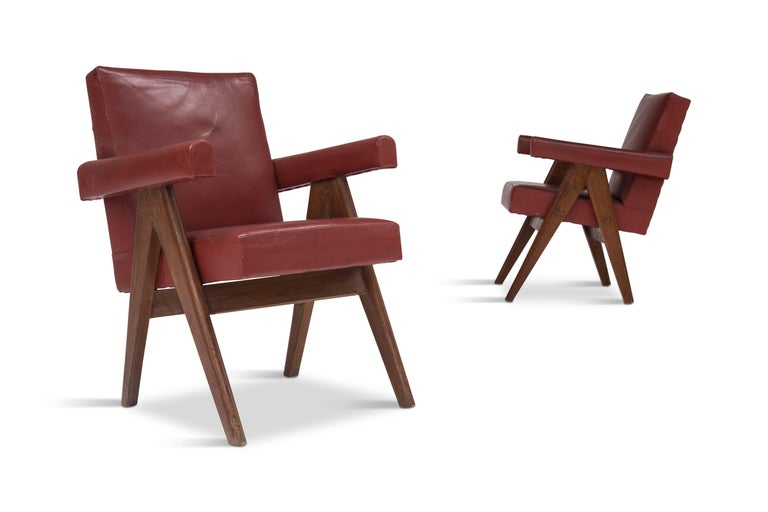 This pair of committee chairs comes from the Senate of the High Court in Chandigarh, India. They are in an original condition and arrive with a document available showing the chairs in their original location, the Senate of Chandigarh. This also