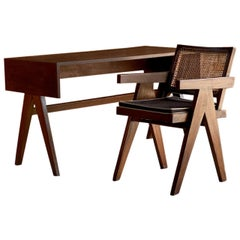 Pierre Jeanneret Desk and Chair, College of Architecture, Chandigarh, circa 1955