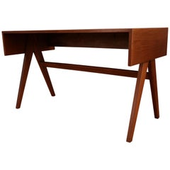 Pierre Jeanneret Desk Compas Legs, Teck, Chandigarh, India, 1960