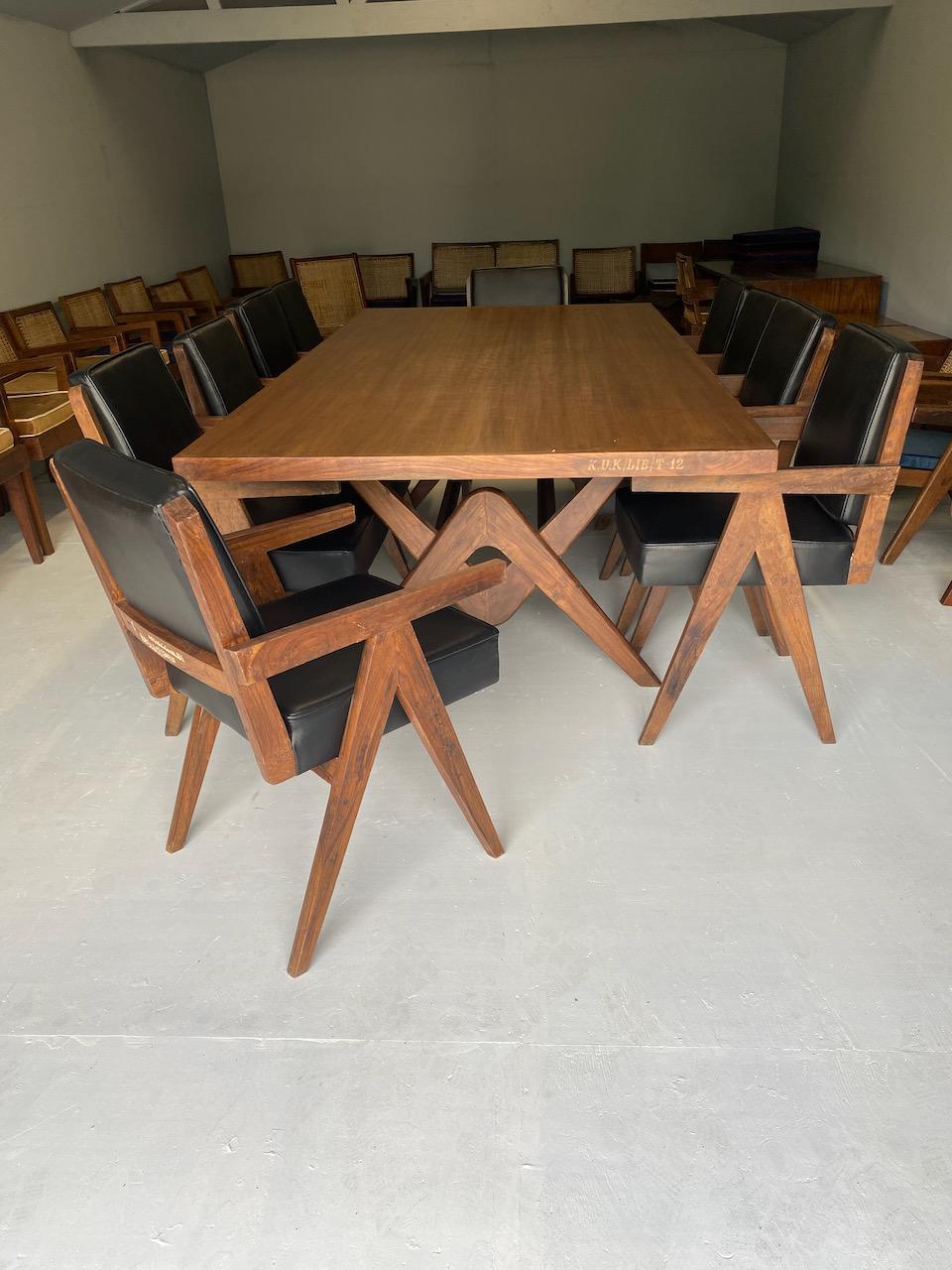 Pierre Jeanneret Dining Table & Ten Chairs Teak Chandigarh Circa 1960s