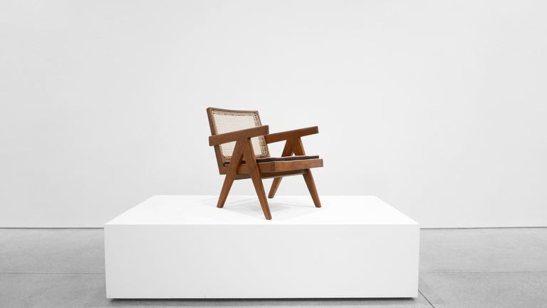 Model no. PJ-SI-29-A, designed for the administrative buildings, Chandigarh 1955-1956 Teak, Cane Measures: 24.5 H x 20.5 W x 29.5 D inches  Pierre Jeanneret (22 March 1896-4 December 1967) was a Swiss architect and furniture designer, most