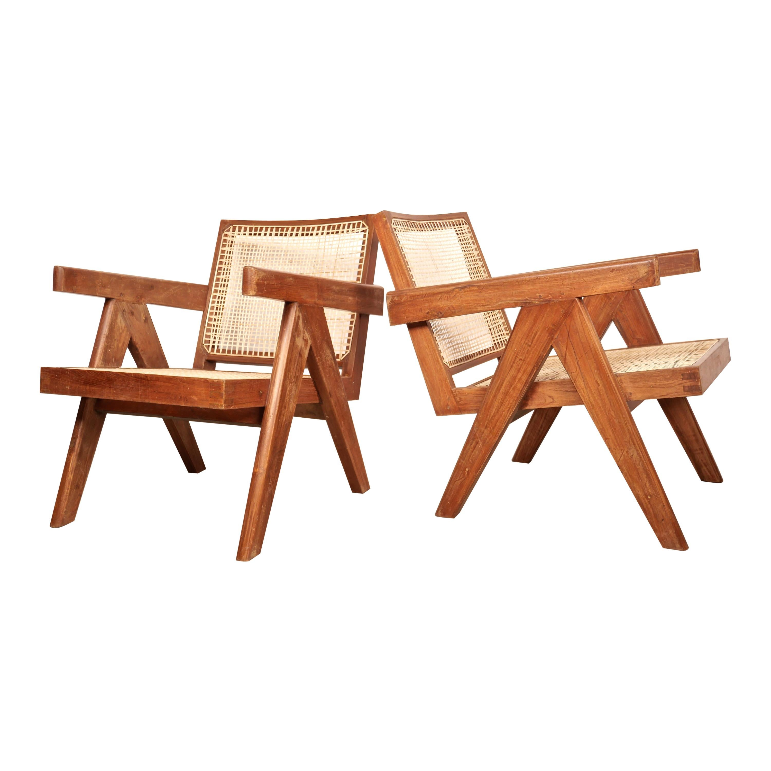 """Pierre Jeanneret """"Easy Armchair"""" in Solid Teak and Cane, Chandigarh, India, 1955"""