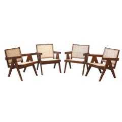 Pierre Jeanneret, Exceptional Set of 4 'Easy Armchairs' with Original Lettering