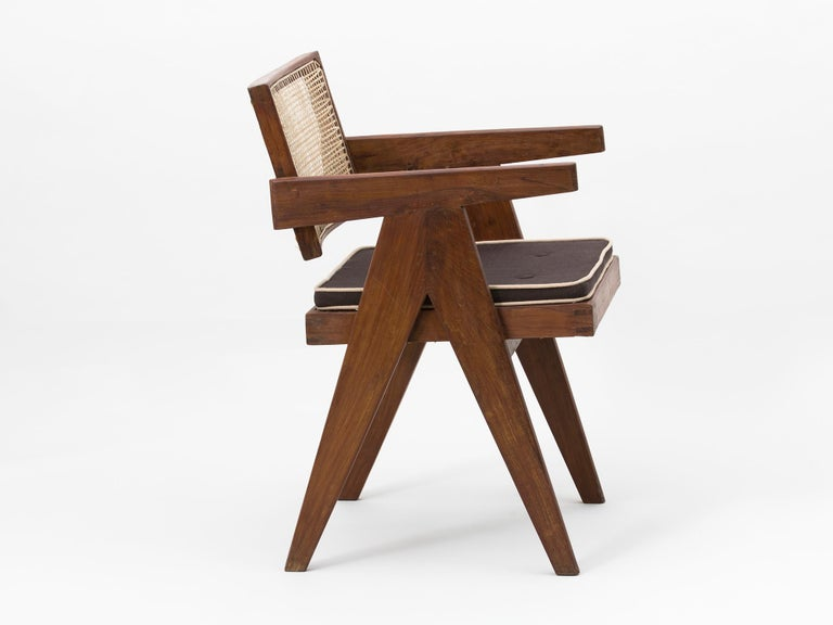 Mid-20th Century Pierre Jeanneret Floating Back Armchair with Lettering For Sale