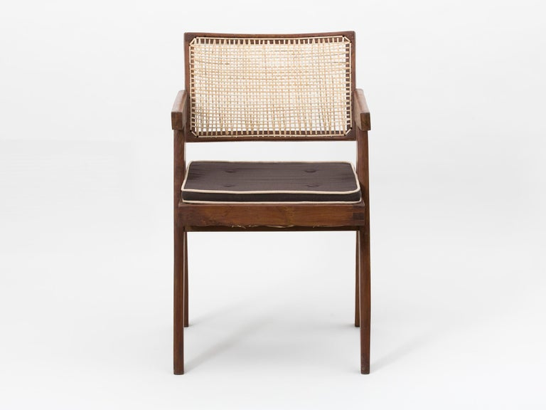 Wicker Pierre Jeanneret Floating Back Armchair with Lettering For Sale