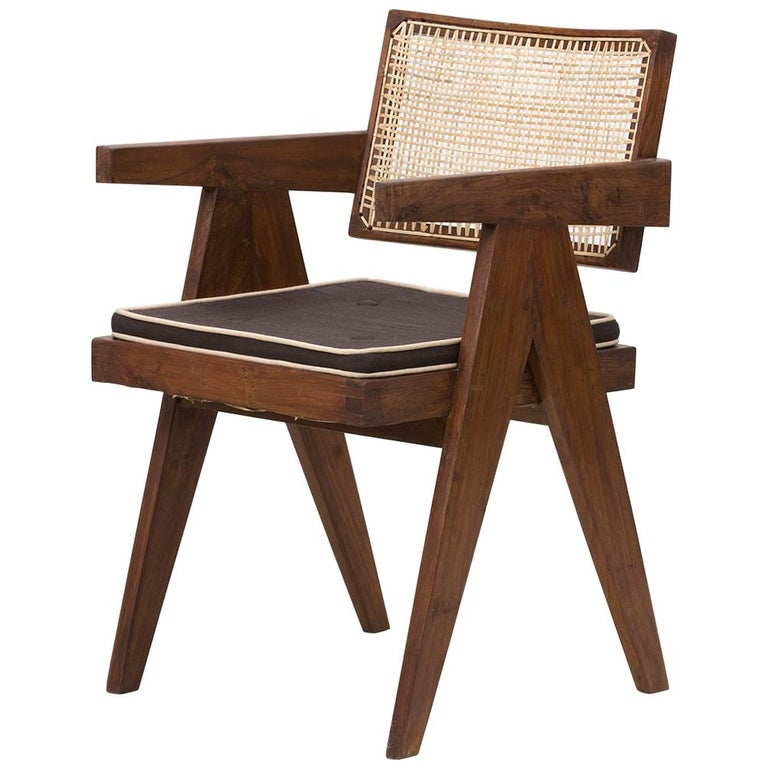 Pierre Jeanneret Floating Back Armchair with Lettering For Sale