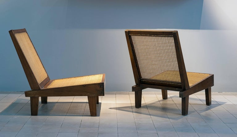 Pierre Jeanneret PJ-SI-61-A Folding armless easy chair, circa 1960 Folding back on hinges. Solid teak, cane. Private residences.