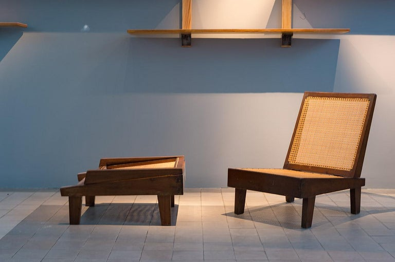 Pierre Jeanneret, Folding Chairs, PJ-SI-61-A, Chandigarh, Teak and Cane In Good Condition In Paris, FR