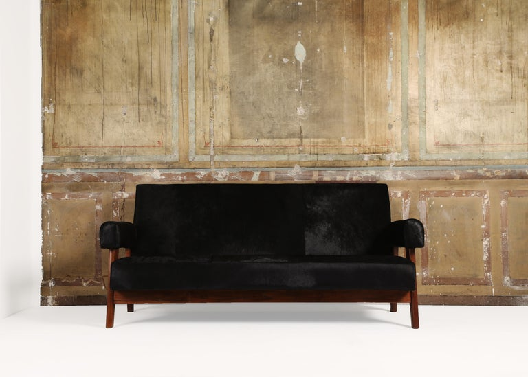 Pierre Jeanneret, (1896-1967),   Pierre Jeanneret sofa armchairs set, LC/PJ-SI-42-A/B  Chair and sofa structure with teak seat in cowhide leather.  Pair of two armchairs and sofa set from low, high court, legislative assembly and various