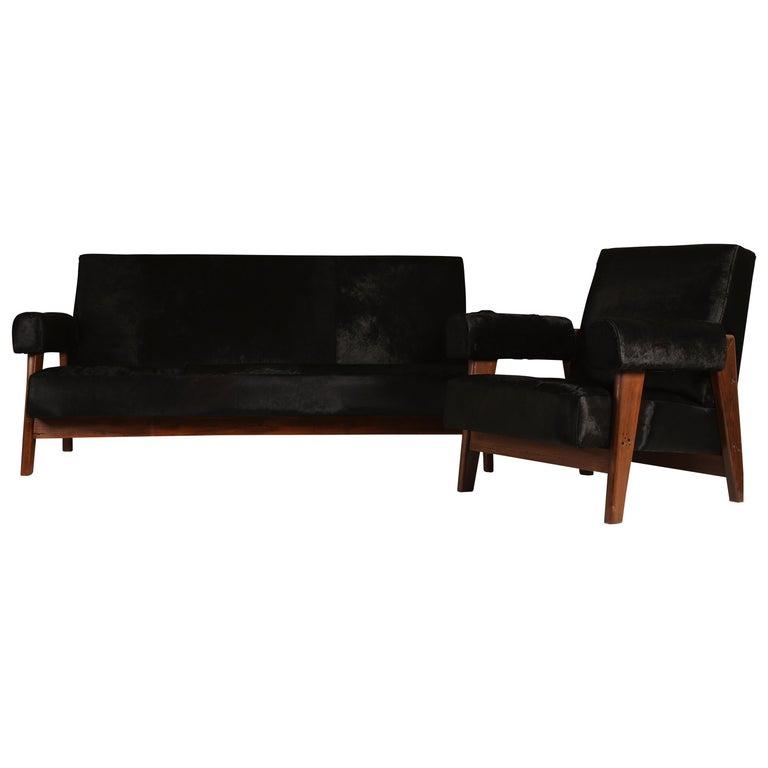Pierre Jeanneret /Le Corbusier, LC/PJ-SI-42-A/B Sofa Armchairs Set For Sale