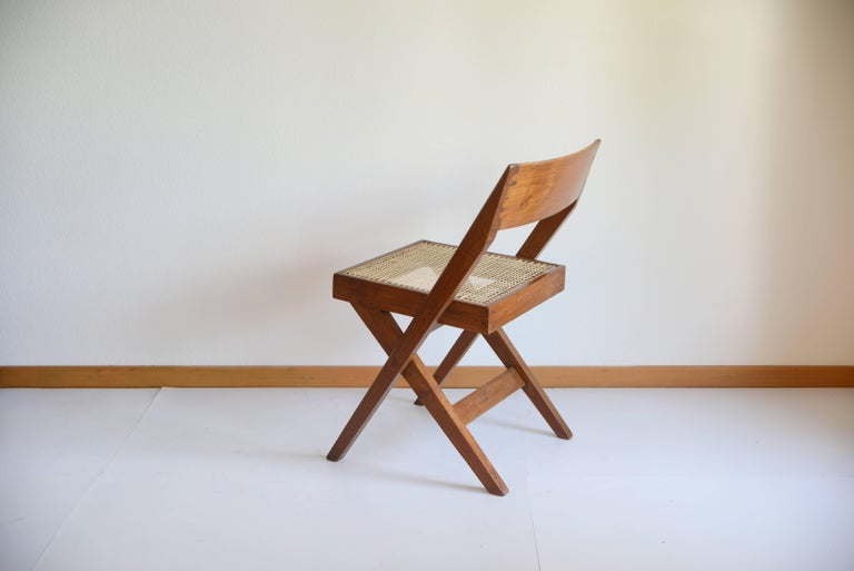 Pierre Jeanneret Library Chair from Chandigarh PJ-SI-51-A In Excellent Condition In Dietikon, CH