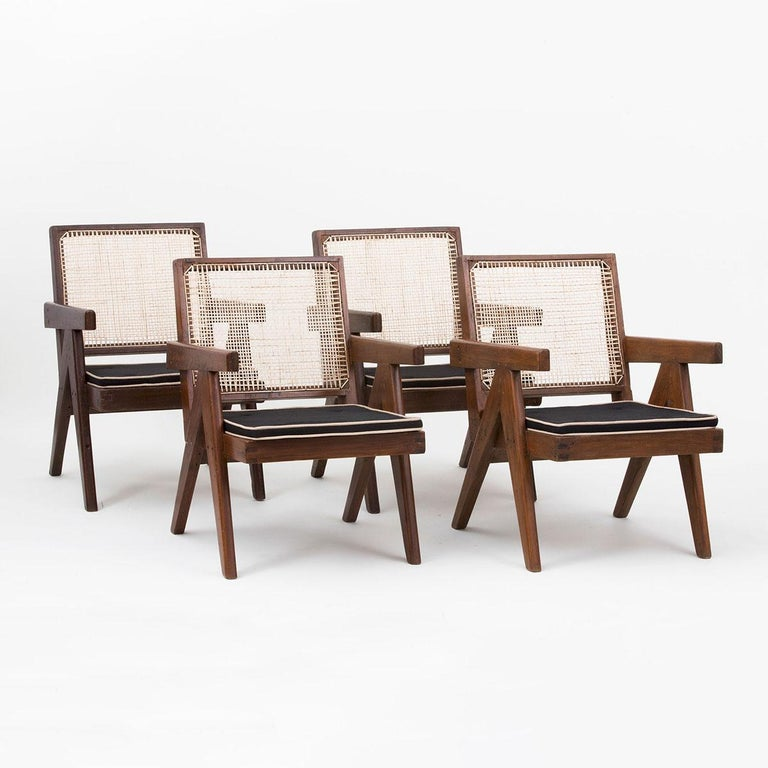 Indian Pierre Jeanneret Low Lounge Chairs For Sale