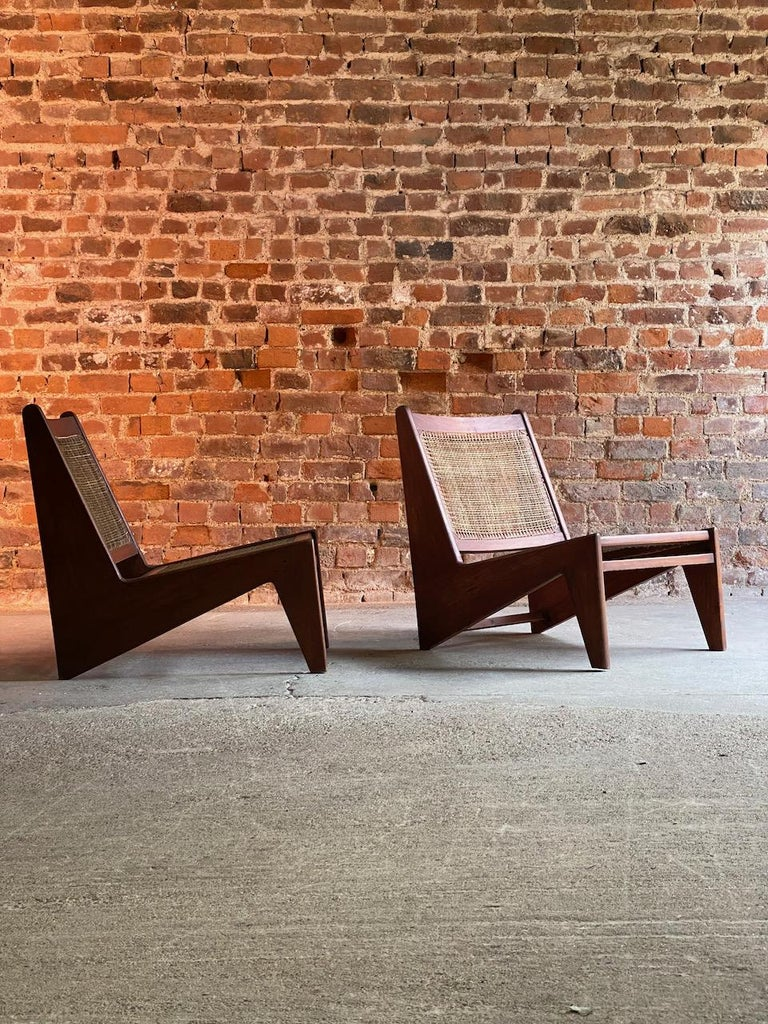Pierre Jeanneret Model: CH010607 Kangourou Low Chairs Teak and Cane, Chandigarh 4