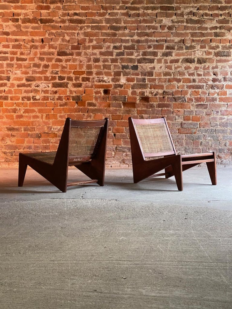 Pierre Jeanneret Model: CH010607 Kangourou Low Chairs Teak and Cane, Chandigarh 7